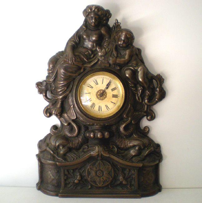 Working Antique Cast Iron Mantle Clock Cherubs & Harps