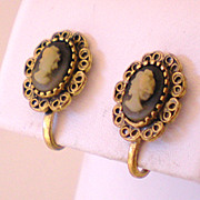 Small Vintage Cameo Style Earrings