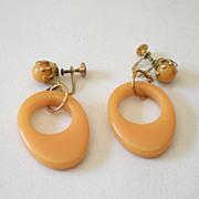 Original 1930s Drop Hoop BAKELITE Earrings