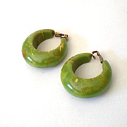 LARGE Green Marbled Bakelite Hoop Earrings