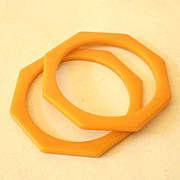 PAIR Matched Octagon Bakelite Bracelets Butterscotch