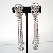 SALE Best Vintage Rhinestone Earrings Long Dangles