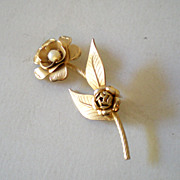 Goldtone and Faux Pearl Rose Flower Brooch