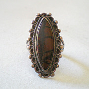 Vintage Native American Ring Silver With Agate Stone