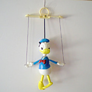 Small 1970s Disney Donald Duck Marionette Toy Puppet