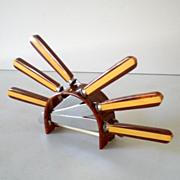 Vintage 7 Piece Bakelite Fruit Knife Set In Bakelite Stand