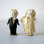 SOLD (2) 1930s  Bisque Dolls Bride & Groom Cake Topper