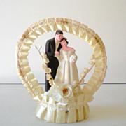 Sweet Vintage Wedding Cake Topper Bride and Groom