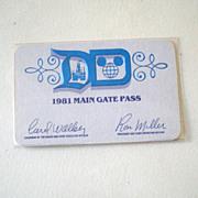 1981 Disneyland Main Gate Pass
