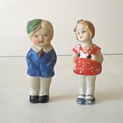 (2) Vintage Bisque Dolls Boy and Girl