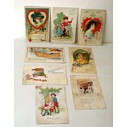 (8) Old Valentine Postcards