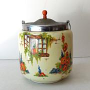 """Lovely Old Biscuit Jar """"Old Cottage Windows"""" England"""