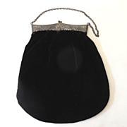 SALE Lovely Victorian Black Velvet Hand Bag Purse