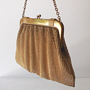 Vintage Whiting Davis Gold Beads Mesh Purse