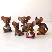Vintage Josef Originals Mouse Family 5 Mice