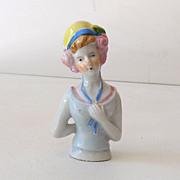 Vintage Porcelain Half Doll 1930s Flapper Girl