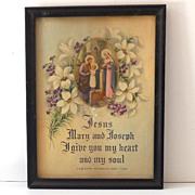 Holy Family And Prayer Vintage Framed Print