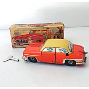 Scarce 1950s HPZ Tin Key Wind  Up Car In Box