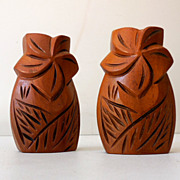 Vintage Hawaiian Hand Carved Salt & Pepper Shakers