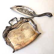 SALE Gorgeous Art Nouveau Silver Plated Crumb Tray & Scoop