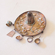 Sterling Silver Sombrero Brooch w/ Dangling Charms
