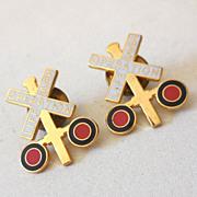 (2) Operation Lifesaver life Saver Pin Badge Cross Bucks