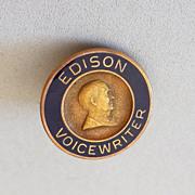 1940s 10k and Enamel Edison Voicewriter Lapel Pin