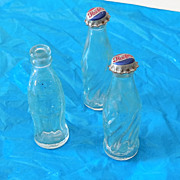 (3) Miniature Glass Soda Pop Bottles Coke Pepsi