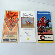 (3) Vintage Horse Race Track Programs