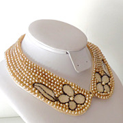 Vintage 6 Strand Faux Pearl Collar With Glass Bead Flowers