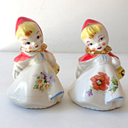 SALE Hull Pottery  Little Red Riding Hood  Salt & Pepper Shakers