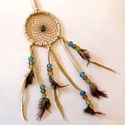 Vintage Navajo Dream Catcher w/ Turquoise Stone