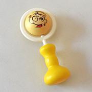 Vintage Plastic Baby Rattle Toy Popeye & Olive Oyl