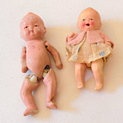 (2) Vintage Bisque Dollhouse Dolls Jointed
