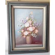 Floral Oil Painting on Canvas Framed and Matted