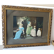 "Large Victorian Framed Print ""The Dancing Lesson"""