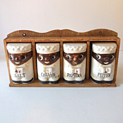 Vintage Black Americana Chefs Spice Set With Rack