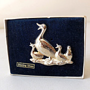 Vintage Sterling Silver Duck & Ducklings Brooch