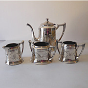 4 Piece F B Rogers Silverplated Tea Set Dated 1883