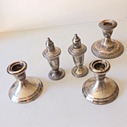 SALE (5) Pieces Weighted Sterling Silver Table Pieces