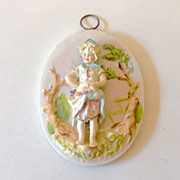 SALE Lovely 3 Dimensional Porcelain Plaque Girl With Fruit