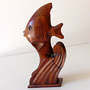 SALE Hawaiian Hand Carved Wood Perfume Bottle Holder Fish