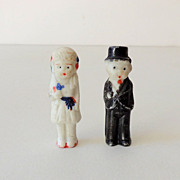 (2) Vintage Bisque Dolls Wedding Cake Top Bride and Groom