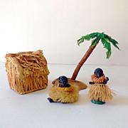 SOLD (4) Piece Hawaiian Village Includes (2) Bisque Hula Figurines
