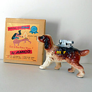 "SOLD 1962 Amico Ceramic Automatic Table Lighter ""Dog Show"""