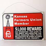Vintage Tin Reward Warning Sign Kansas Farmers Union