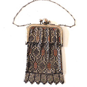SALE Small Vintage Mesh Purse With Built In Mirror