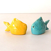 "SALE Bauer Pottery ""Chicken of the Sea"" Salt & Pepper Shakers"