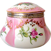 "Vintage  Lidded Vanity Box Pink Flowers Marked ""RS"""