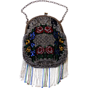 Lovely Victorian Beaded Purse Floral Design